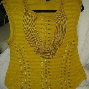 Balmain x H&M yellow embellished rope tank